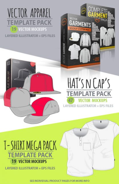 Apparel design Studio vector t-shirt template pack