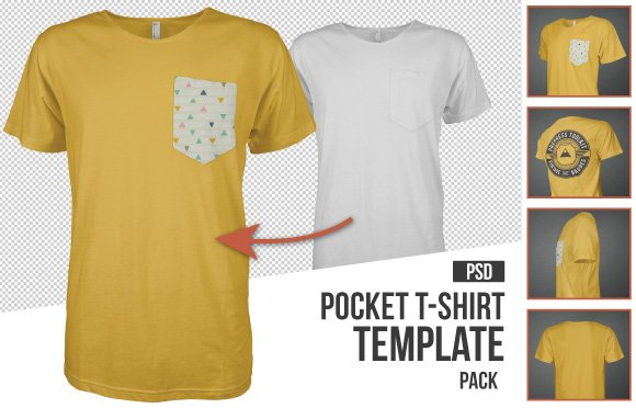 Must Have Mockup Templates For TShirt And Apparel Design - Pocket t shirt template