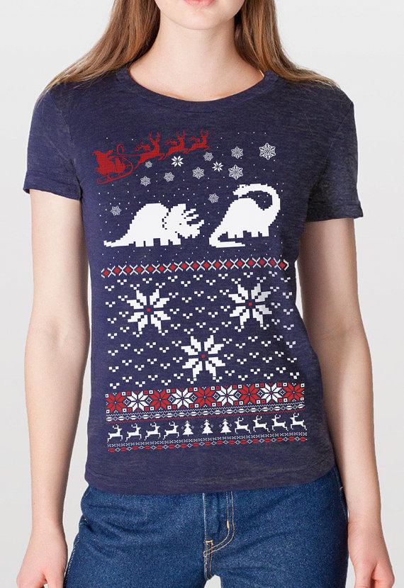 Women's Santa Dinosaur Christmas sweater shirt