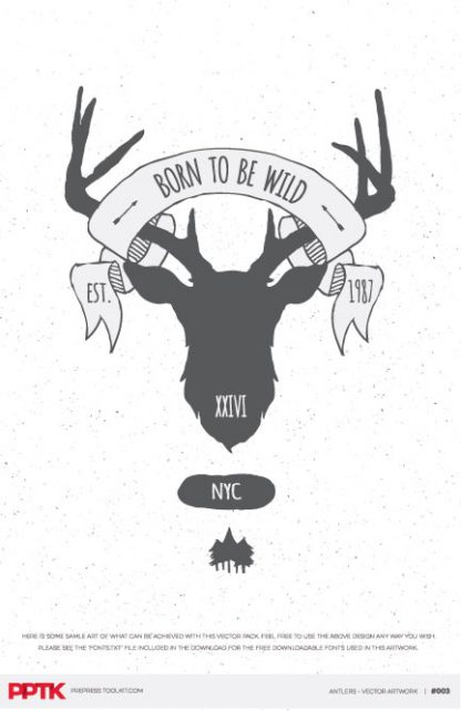 large antlers vector t-shirt graphics download