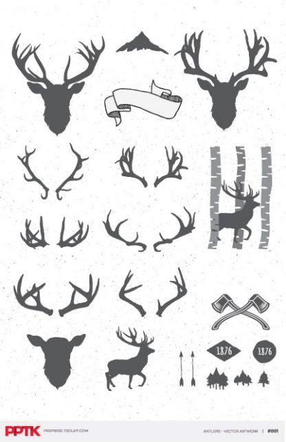 vector deer silhouette banners axes trees antlers