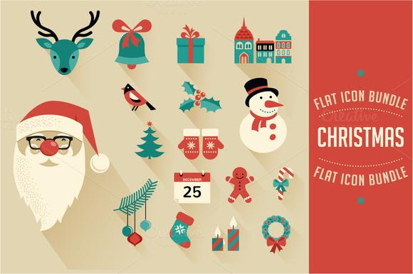 xmas flat icons christmas design inspiration
