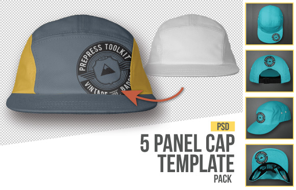 5 panel cap template hat mockup