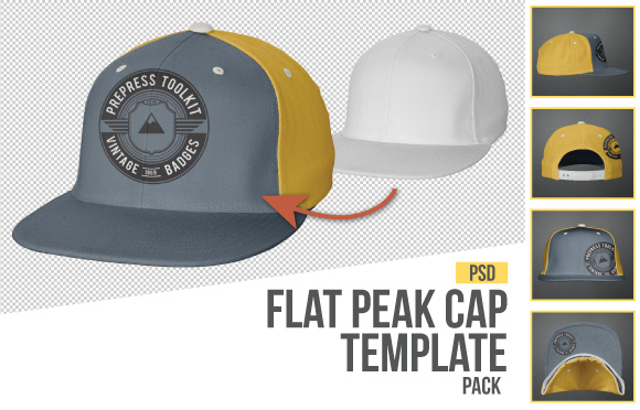 Flat Peak Cap Hat Photo Template