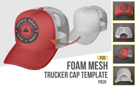 foam mesh trucker cap snap back template
