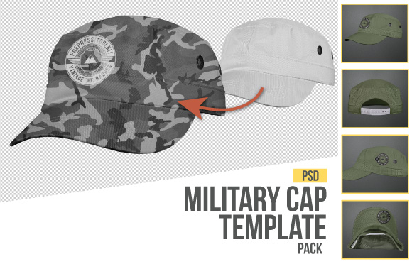 military stile cap template photoshop