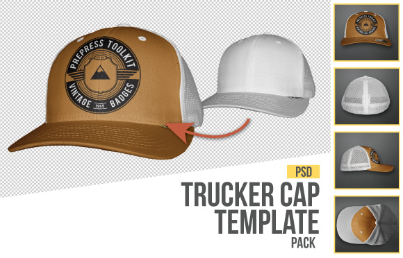trucker cap flexfit template photoreal