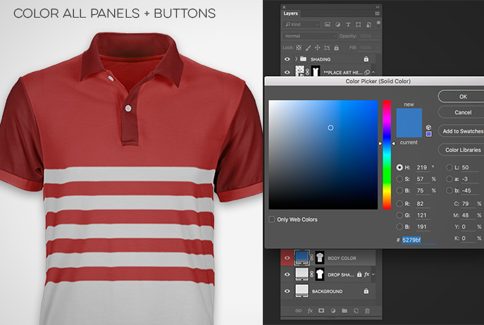 mens polo shirt template color panels buttons pattern