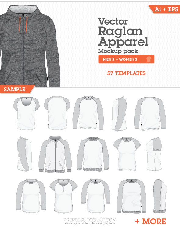 Raglan Style Mockup Templates Vector Master Collection 06