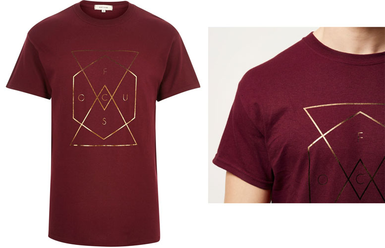 river island red dark red bronze foil print t-shirt