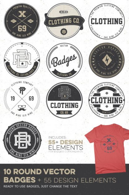 Round Vector Badges Poster