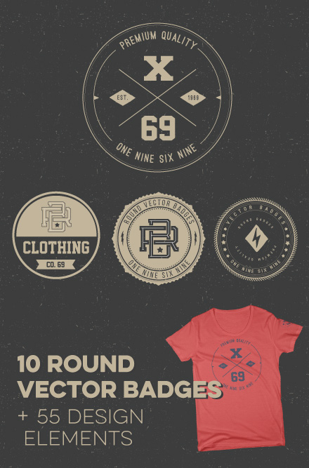 Round badge template design elements illustrator 02