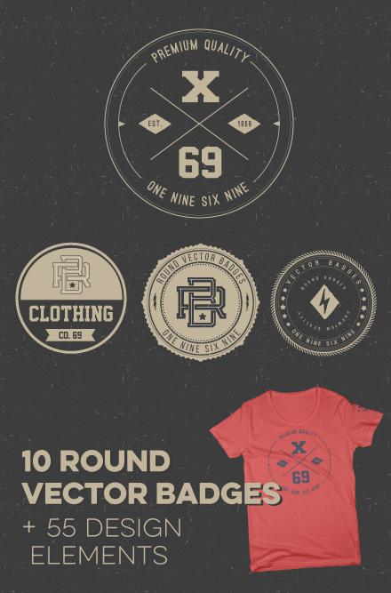 Round badge template design elements illustrator 02
