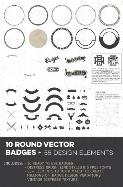 round vector badges design elements 02
