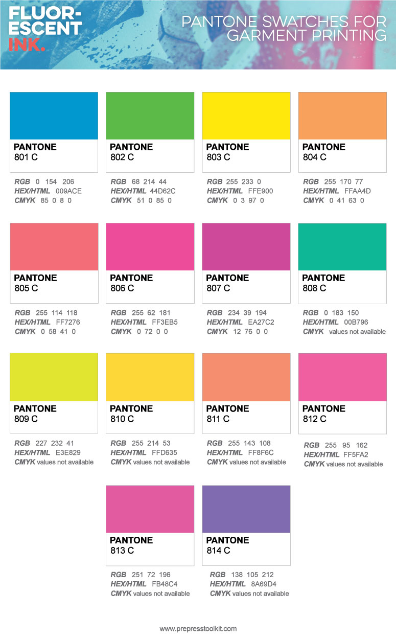 Pantone swatches Fluorescent Inks screen printing t-shirt design