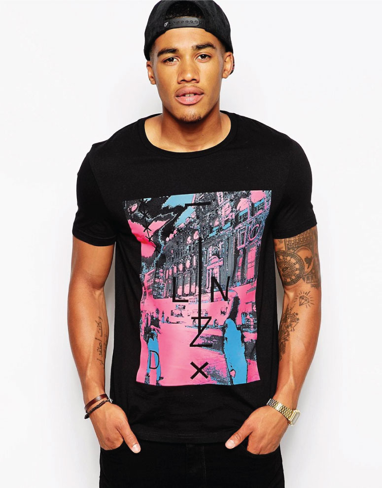 asos neon print on black t-shirt