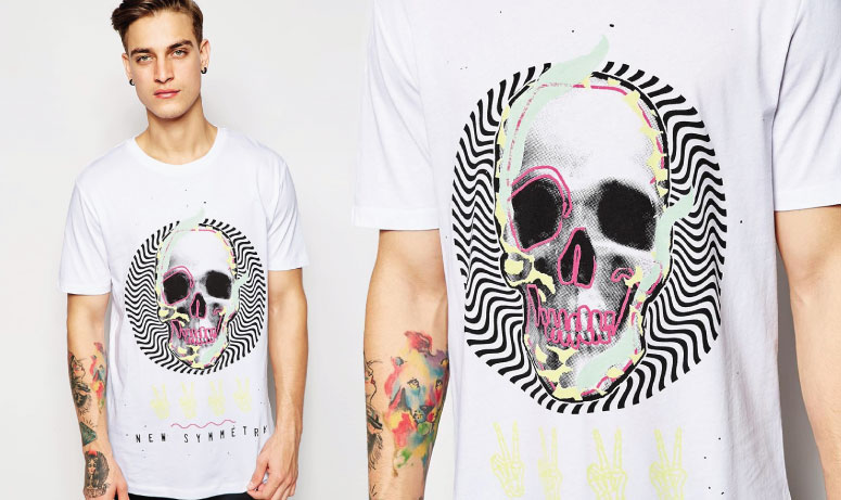 asos t-shirt with fluro skull print in relaxed skater fit