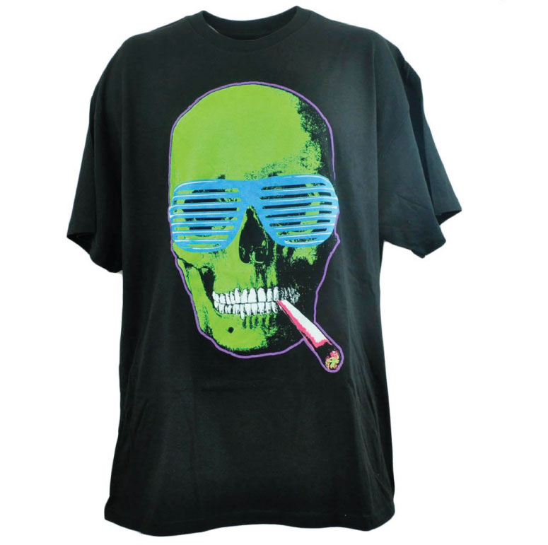 neon skull fluorescent screen print example