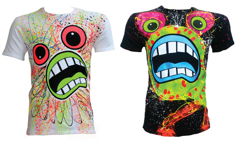 scream tees neon screen print effect