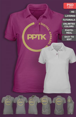 womens photo real polo shirt template mockup psd v2