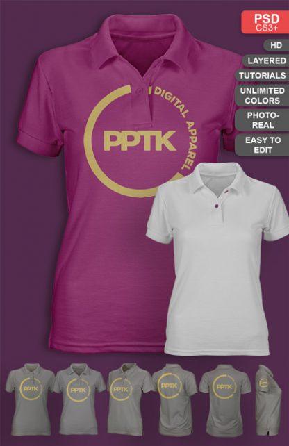 womens photo real polo shirt template mockup psd v2