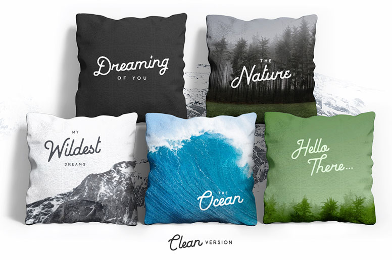 05 02 Baheula vintage font download example pillow