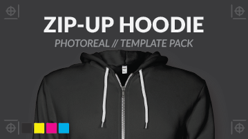 Photo real zip up hoodie template psd