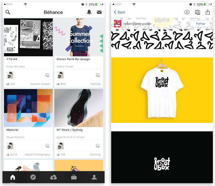 best iOS apps for designers ecommerce behance