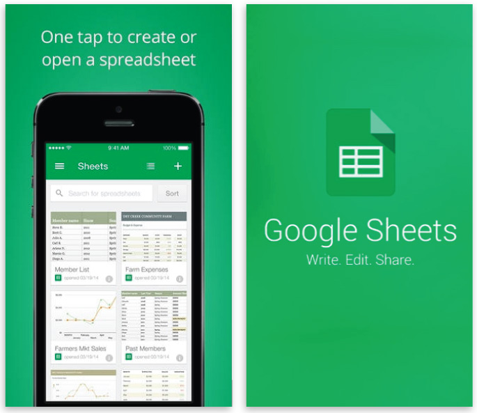 best iOS apps for designers ecommerce google sheets app