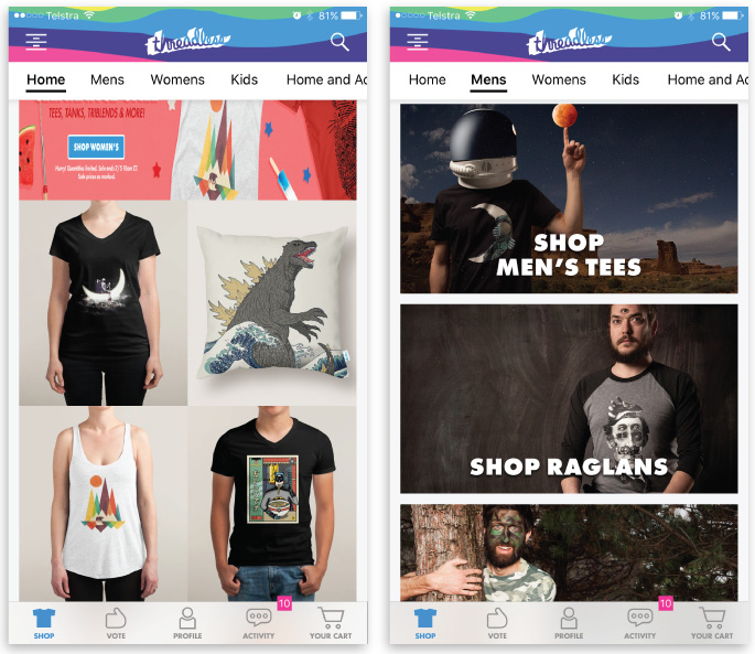 best iOS apps for designers ecommerce threadless app
