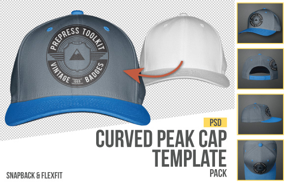 curved peak snapback cap template photoshop download
