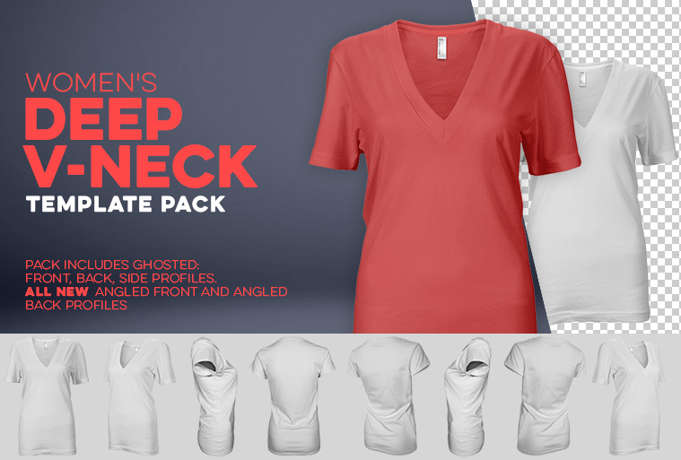 womens deep v neck template photoshop download