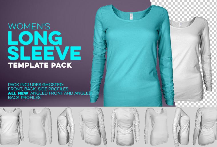 womens long sleeve t-shirt template photoshop download