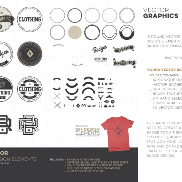 t shirt studio pro clothing round vector badges vintage logos 06