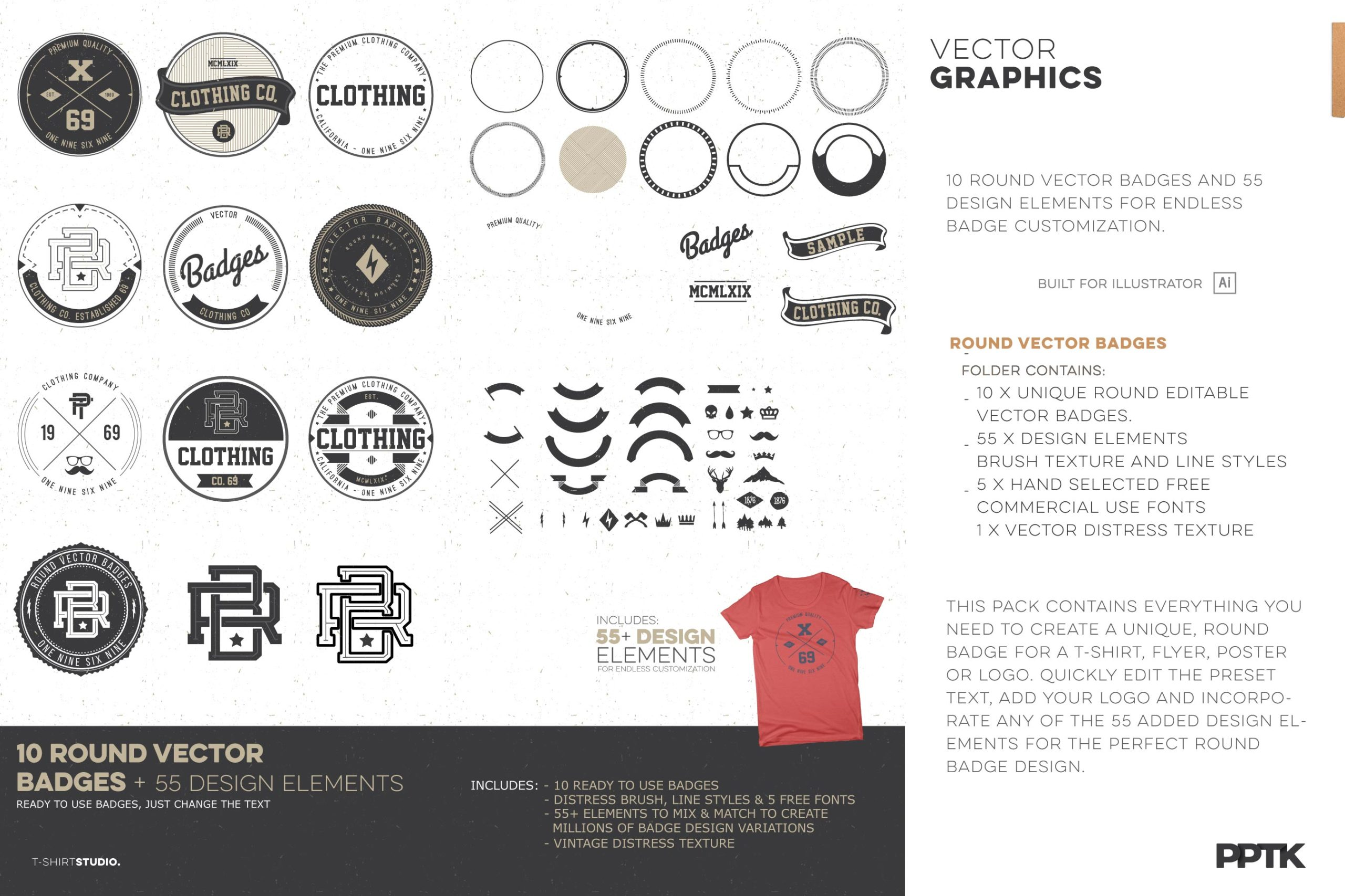 t shirt design studio pro clothing round vector badges vintage logos 06