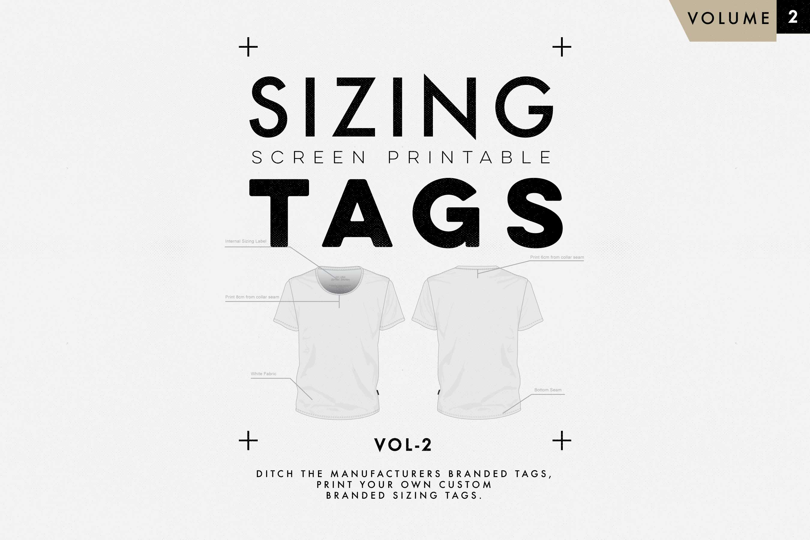 clothing t-shirt sizing tag templates VOL2